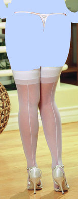 Sheer Thigh Highs w/Back Seam White QN