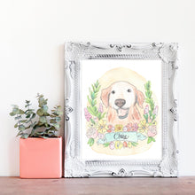 Floral Garland Custom Pet Portrait