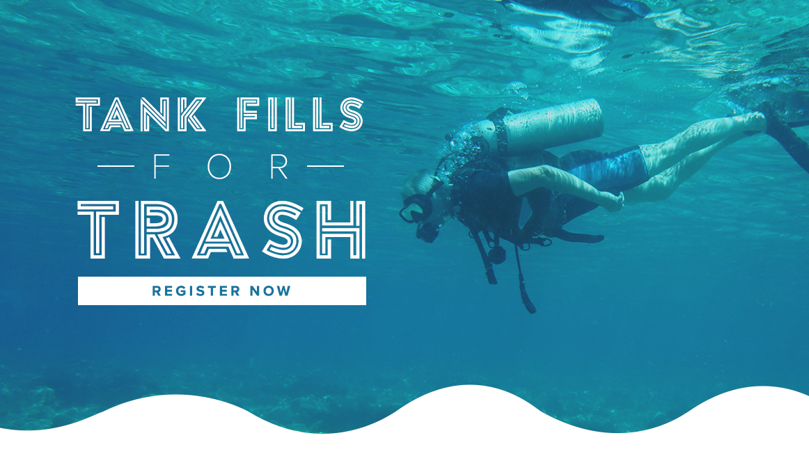 Tank fills for trash scuba divers collecting rubbish