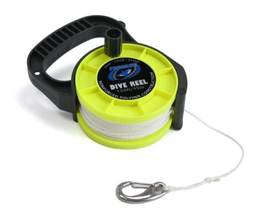 Problue 150ft (45m) Dive Reel Neon Yellow with clip and Stop lock