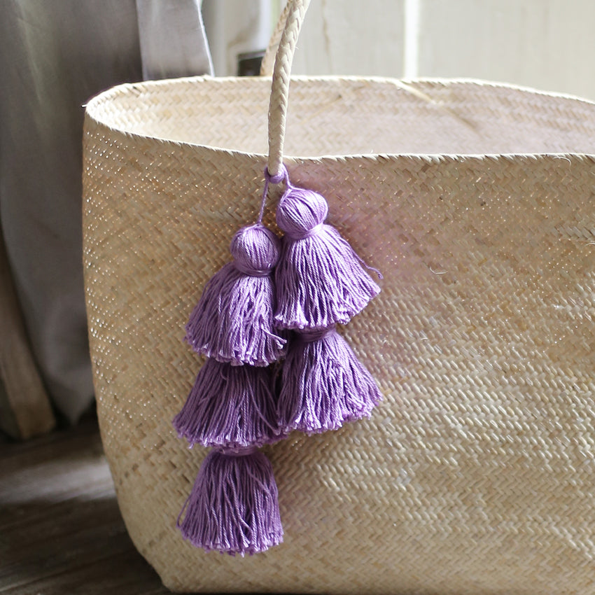 Borneo Sani Straw Tote Bag - with Purple Tassels