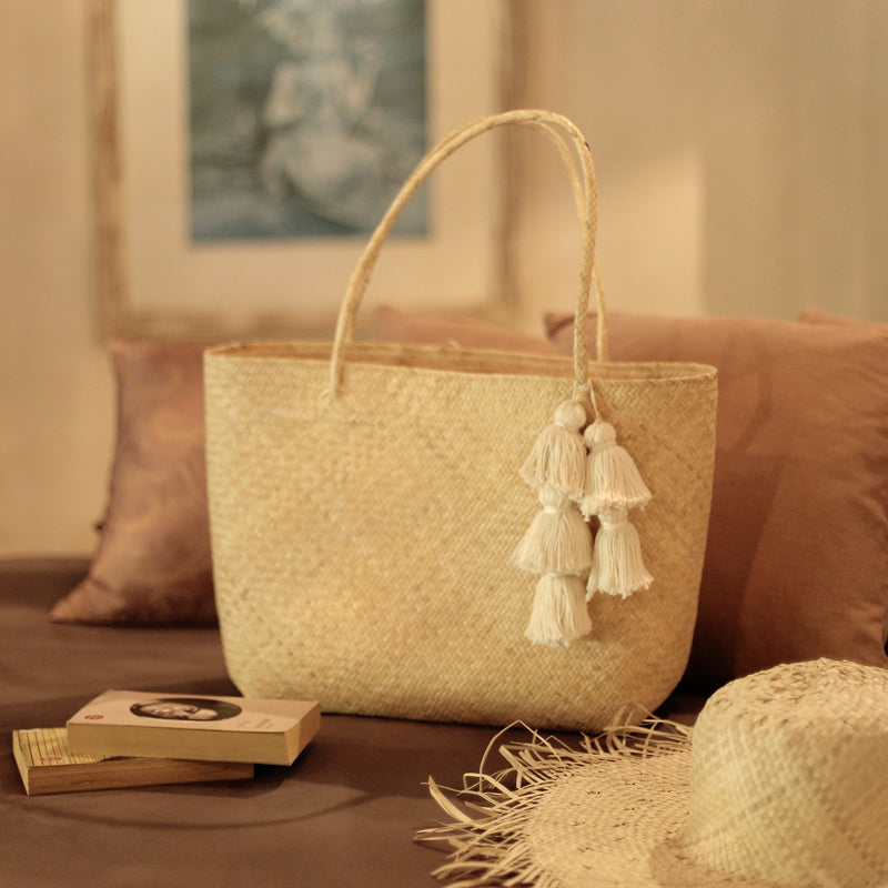 Borneo Sani Straw Tote Bag - with White Tassels (Pre-order)