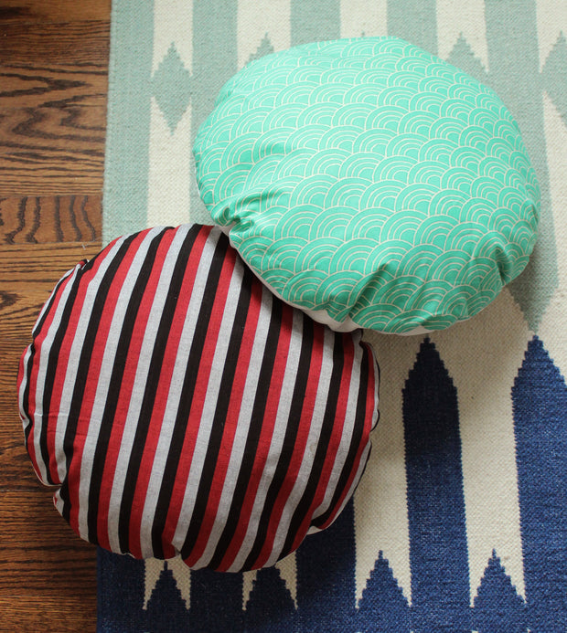 """Wave Round Striped Decorative Round Pillow Cover 16"""", Circle Pillow 1"""