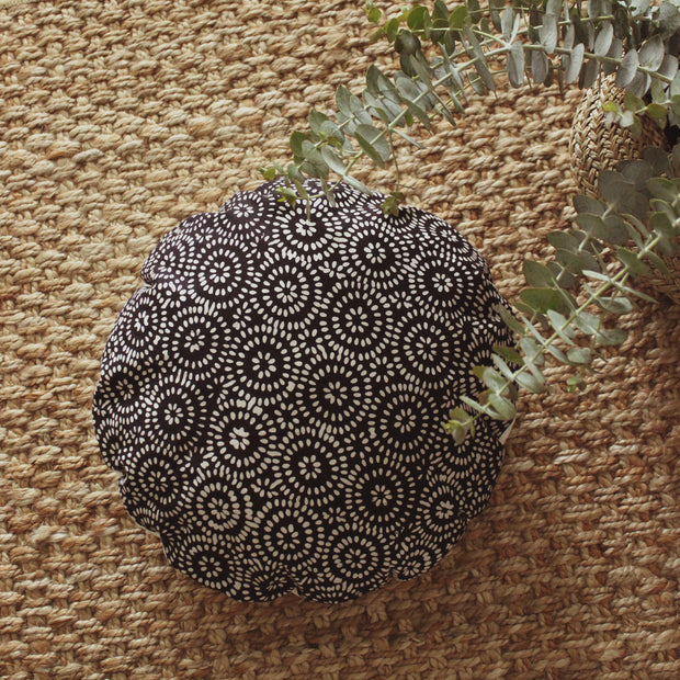 """Traditional Batik Decorative Round Pillow Cover 16"""" - in Dark Navy 1"""