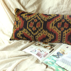 "Tropical Handwoven Decorative Lumbar Pillow Cover ""Java Tribe"""