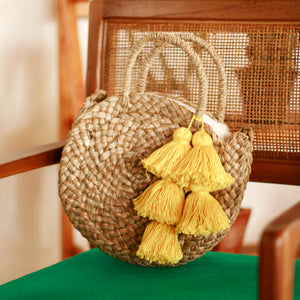 Petite Luna Bag - Round Straw Tote Bag with Yellow Tassels