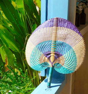 "Balinese Woven Hand Fan ""Sea Breeze"""