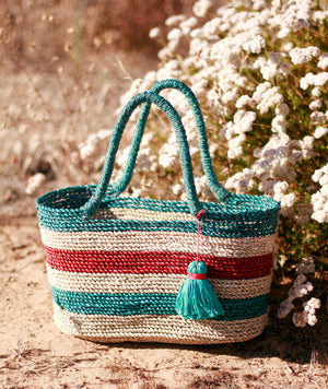Shabba Pandan Straw Tote Bag, in Coastal Red & Turquoise