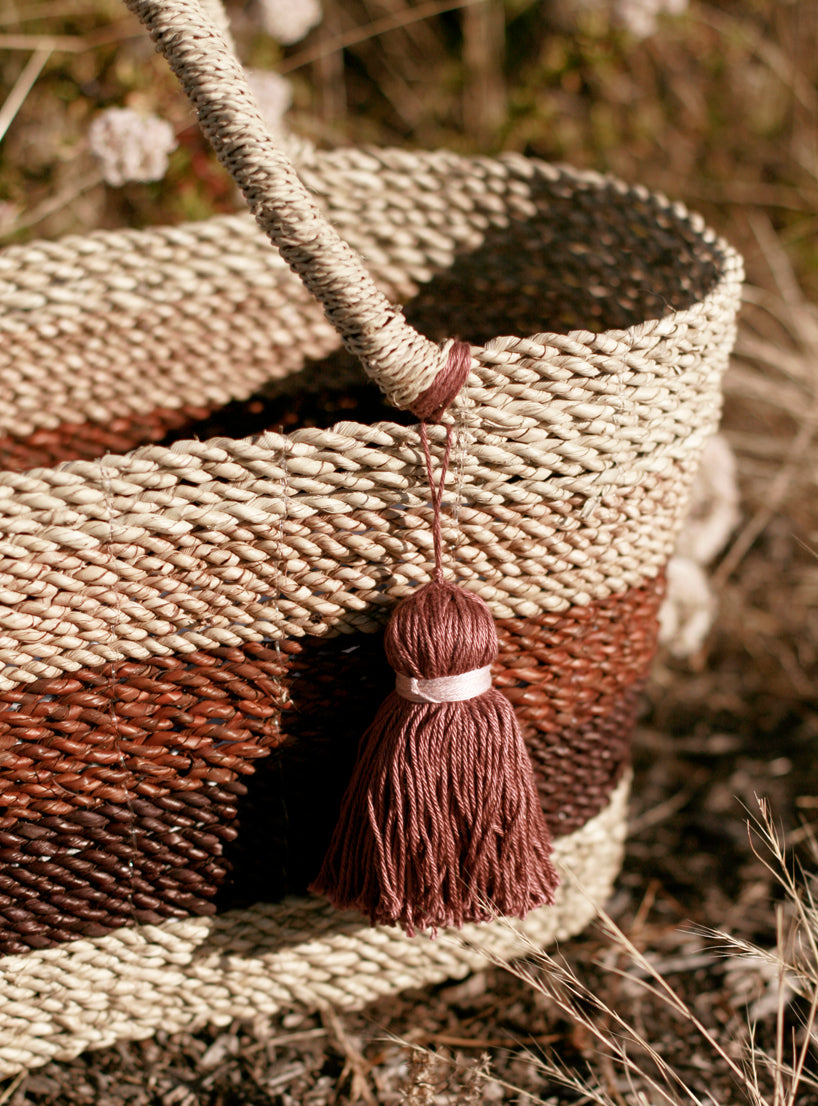 Shabba Pandan Straw Tote Bag, in Earthy Brown & Tan