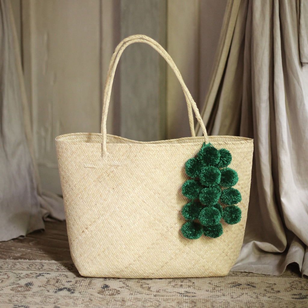 Borneo Sani Straw Tote Bag - with Emerald Green Pom-poms