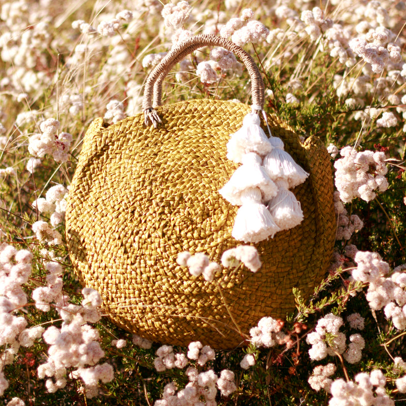 Luna Limon Straw Bag with White Tassels
