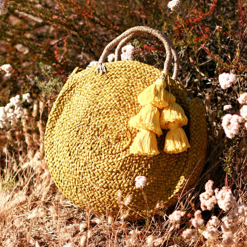 Luna Limon Straw Bag with Yellow Tassels