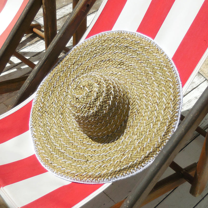 Balinese Straw Hat, Woven Hat, Seagrass Hat, Beach Hat in White