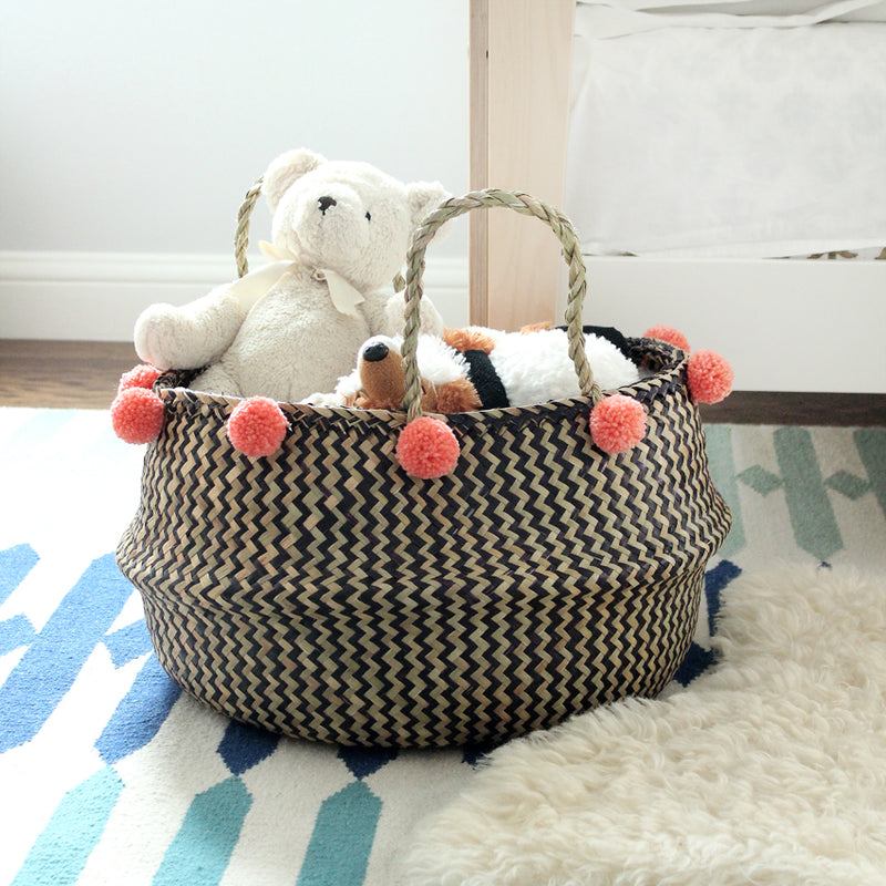 Borneo Extra Wide Zig-zag Belly basket - with Salmon Pom-poms