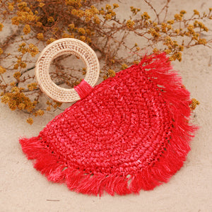 Atta Warrior Raffia Fringes Half Moon Straw Bag - in Red