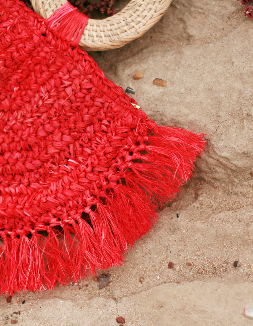 Atta Warrior Raffia Straw Bag - in Red