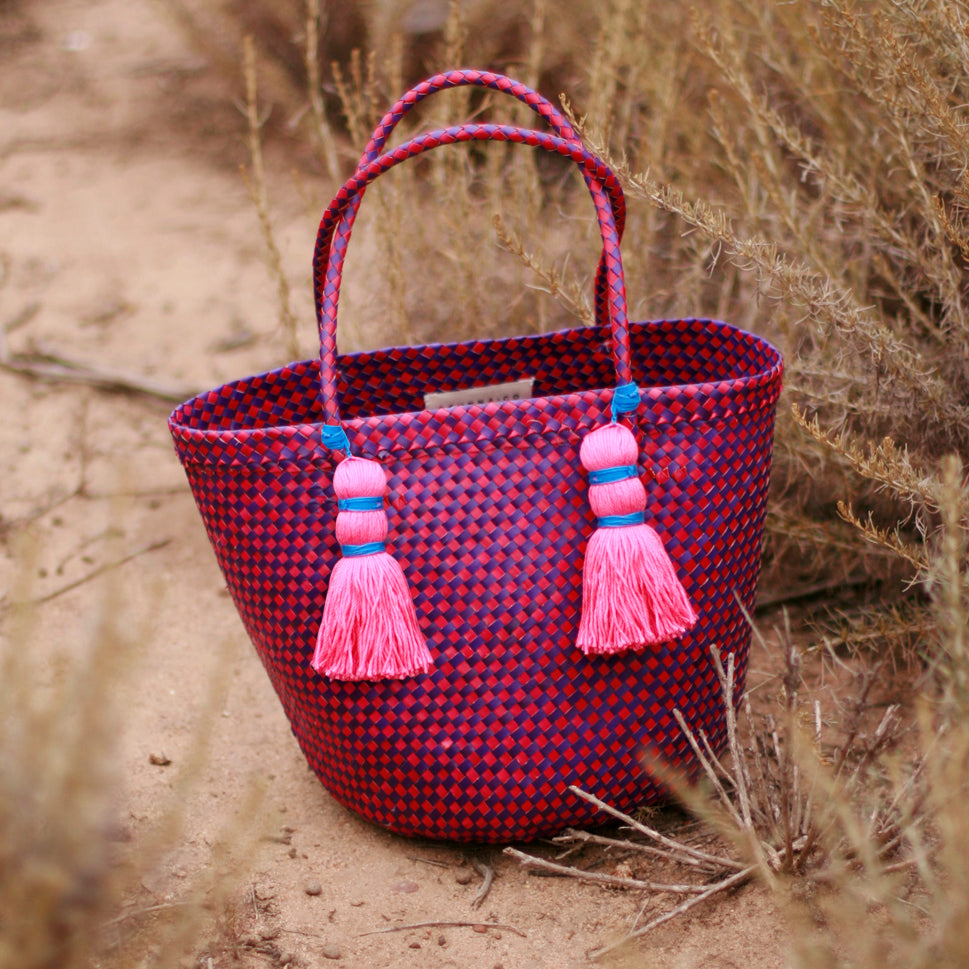 Coco Palm Straw Bag - Dragonfruit