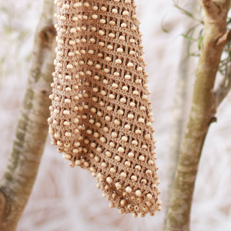 Karma Wooden Beads Crochet Bag in Tan