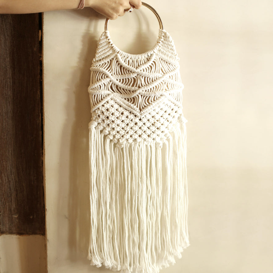 Made Macrame Long Fringe bag