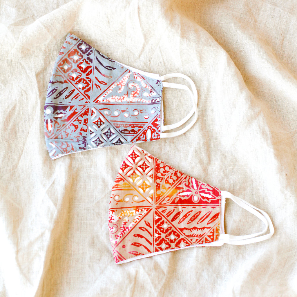 RED JAVA Triple Layer Vintage Batik Face Mask