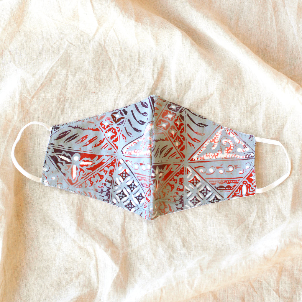 BLUE JAVA Triple Layer  Vintage Batik Face Mask