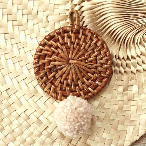 BALI X CALI Christmas Tree Ornament - Mix Set of 4 - with Blushed Ivory Pom-pom