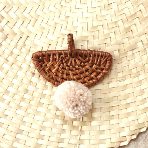 "Christmas Tree Ornament ""Ulu"" - with Blushed Ivory Pom-pom"