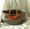 Mixed Straw Handwoven Belly Basket Bag, with Lavender Purple Tassels