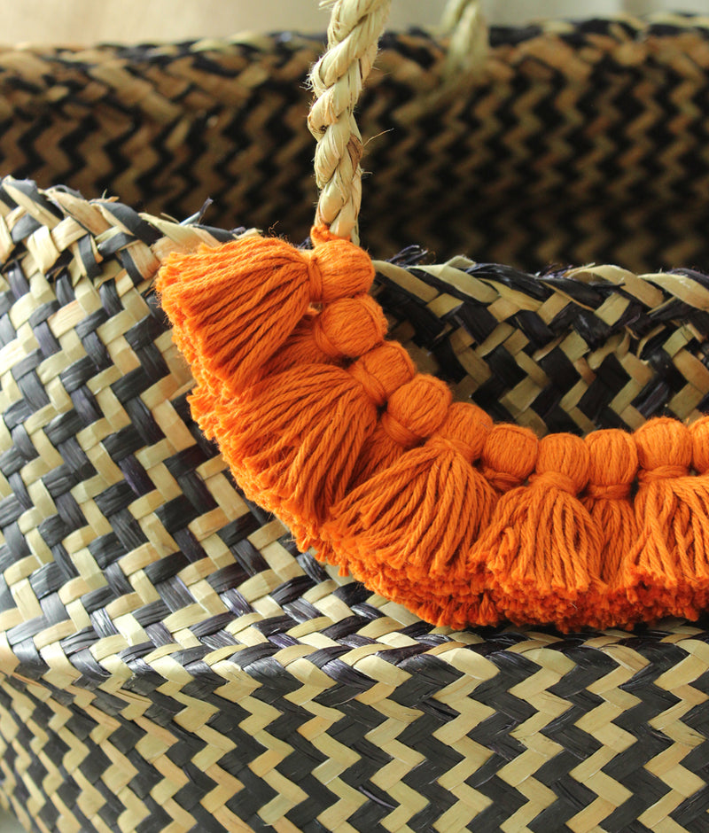 Borneo Extra Wide Zig-zag Belly basket - with Pumpkin Orange Tassels