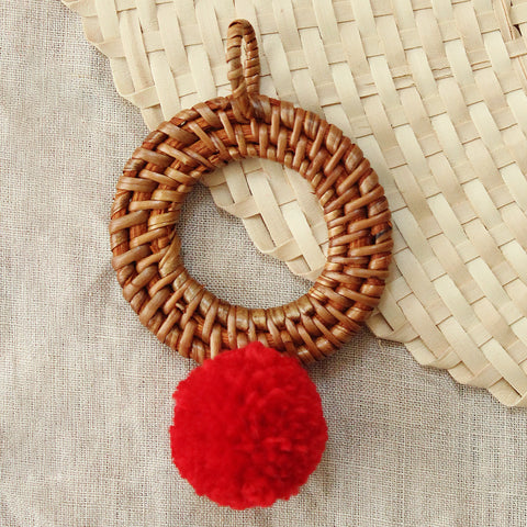 "Christmas Tree Ornament ""Mata"" - with Blushed Ivory Pom-pom"