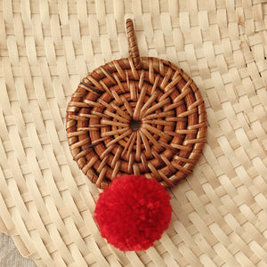"Christmas Tree Ornament ""Mata"" - with Red Pom-pom"