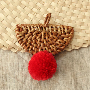 Christmas Tree Ornament Bali X Cali - Mix Set of 4 - with Red Pom-poms
