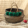 "Hyacinth Straw bag ""Surya"" - with Earthy Tiered Pom-poms"