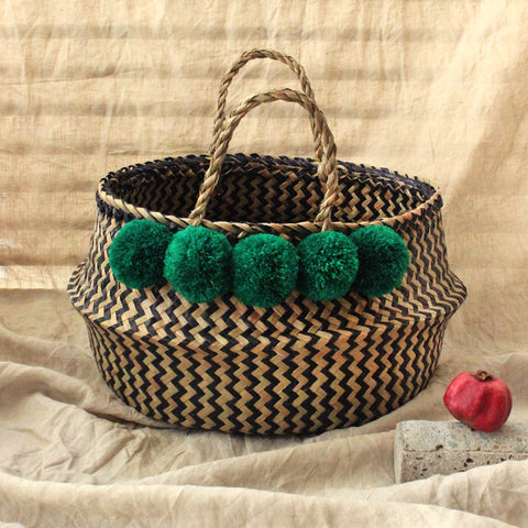 Petite Straw Belly Basket - with Pastel Coral Pom-poms