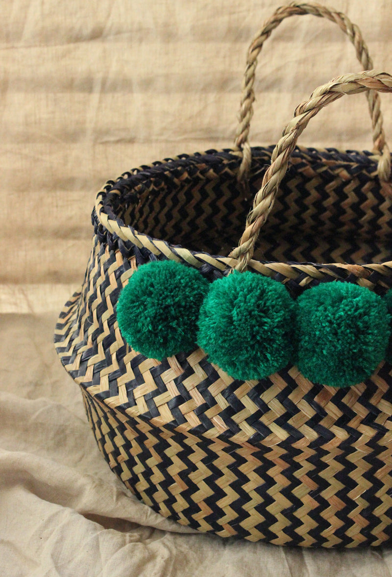 Borneo Extra Wide Zig-zag Belly basket - with Emerald Green Pom-poms