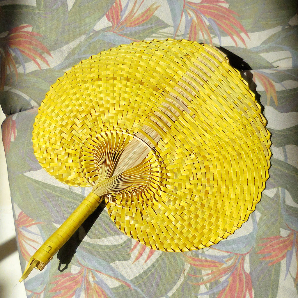 Amal Yellow Balinese Hand Woven Fan