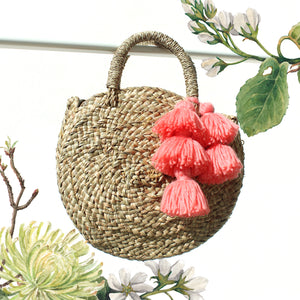 Petite Luna Bag - Round Straw Tote Bag with Pink Tassels