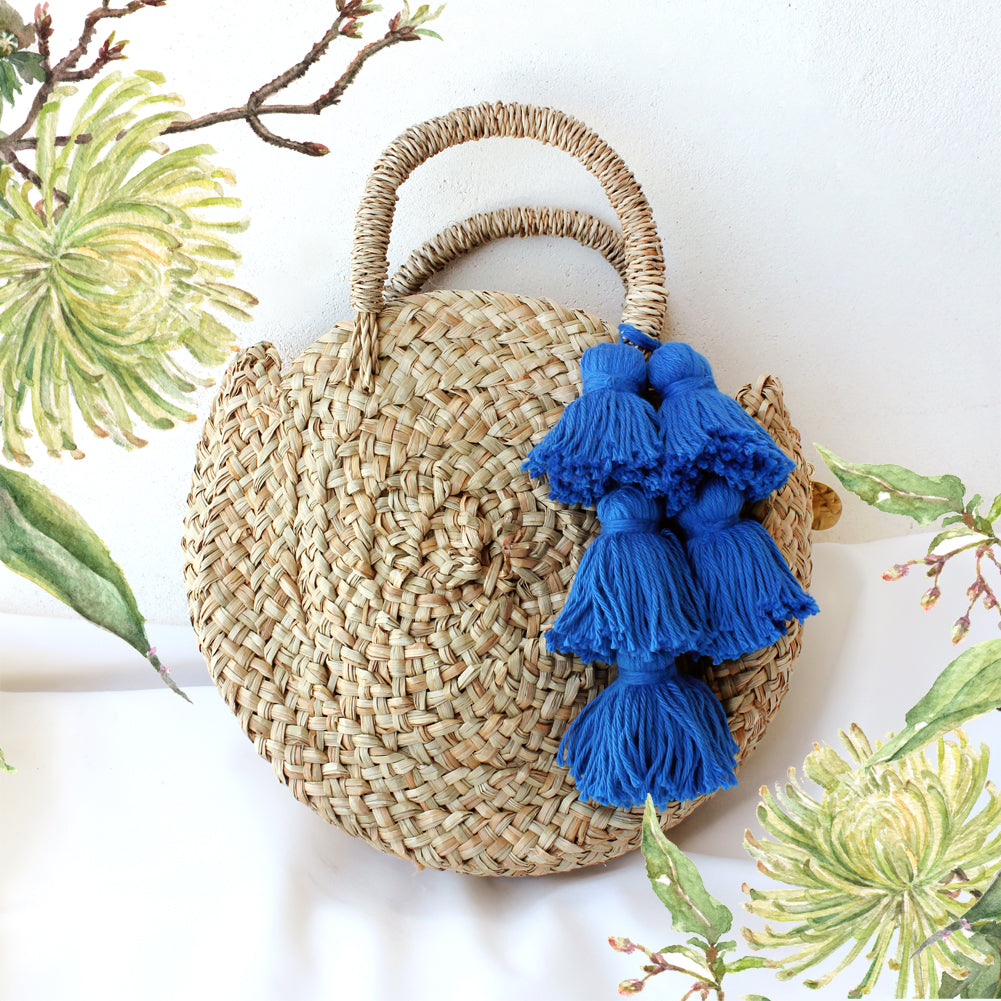 Petite Luna Bag - Round Straw Tote Bag with Royal Blue Tassels