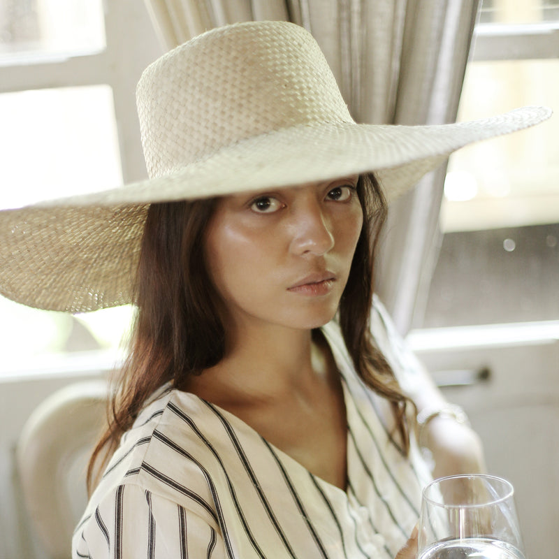 Swasti Wide Round Palm Straw Hat, in Nude Beige