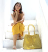 TOKO Straw Bag, Plastic Straw Tote Bag, Woven Beach Bag, Beach Handbag, Beach Tote Bag, in Mustard Yellow