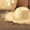 Rimba Wide Round Palm Straw Hat, in Nude Beige