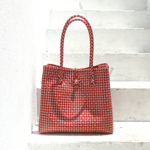 TOKO Straw Bag, Plastic Straw Bag, Woven Handbag, Straw Handbag, Straw Tote Bag, Beach Bag, Box Bag in Red