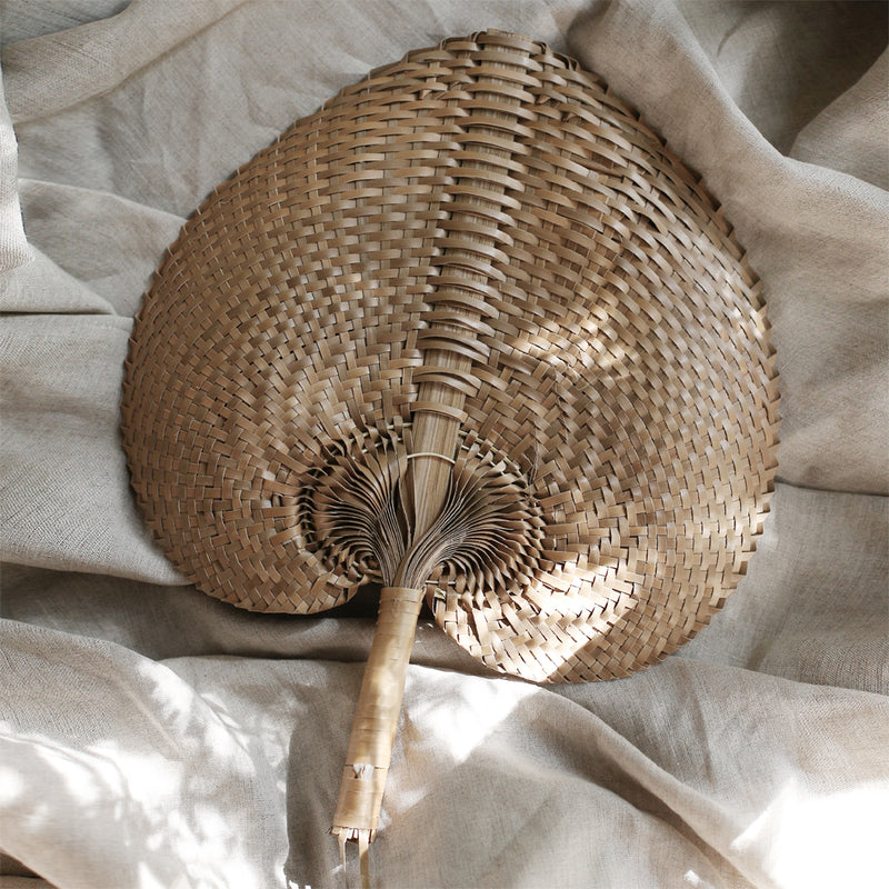 "Balinese Woven Hand Fan ""Ono"" Toasted"