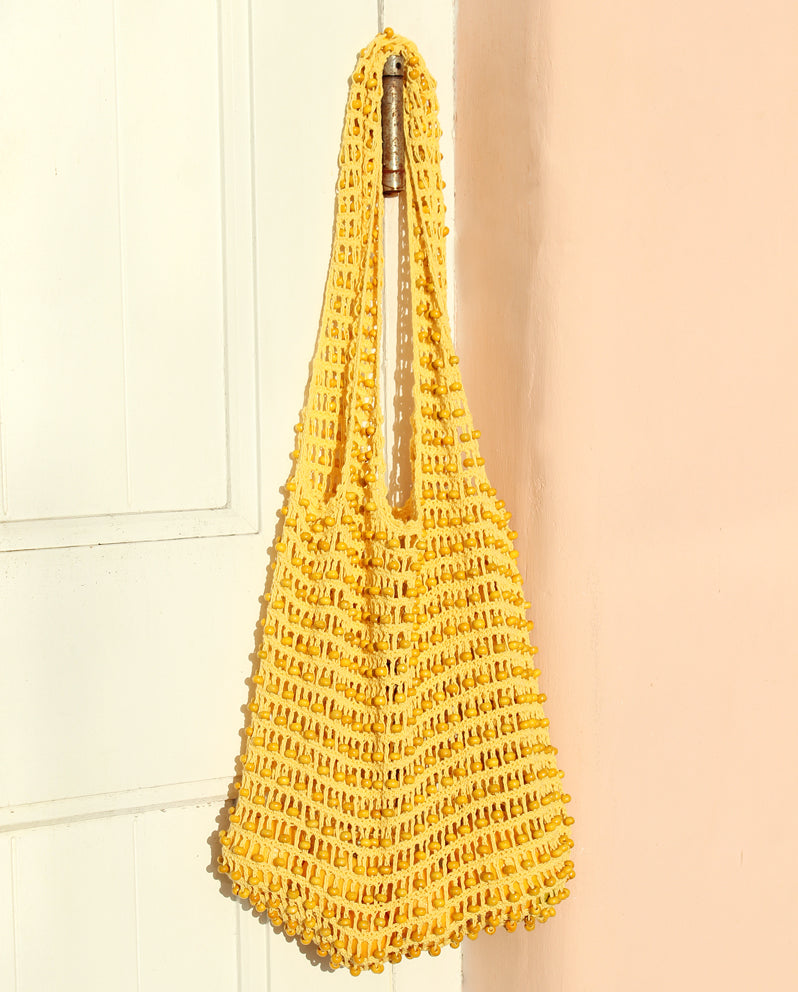 Kama Wooden Beads Crochet Bag Macrame Bag in Pale Yellow - Madewell Crochet Bag