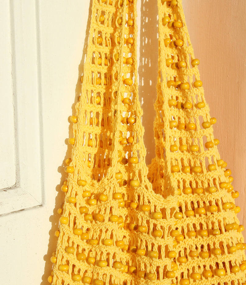 Kama Wooden Beads Crochet Bag Macrame Bag in Pale Yellow - 6