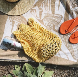 Kama Wooden Beads Crochet Bag Macrame Bag in Pale Yellow