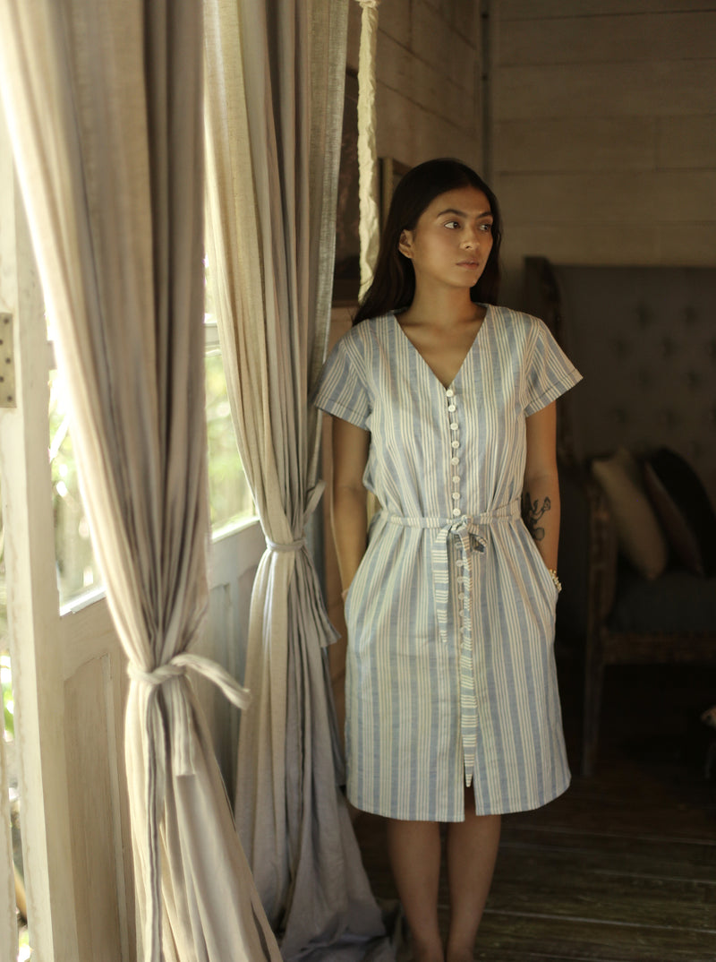 JUNA Handwoven Knot Shirtdress