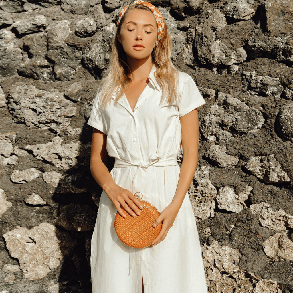 ARYA Safari Linen Shirt Dress, in Off White (Pre-order)