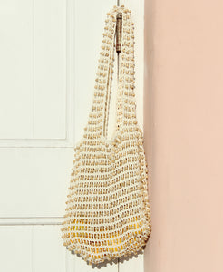 Kama Wooden Beads Bag in Natural White