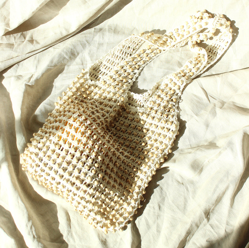 Kama Wooden Beads Crochet Bag Macrame Bag in Cream White